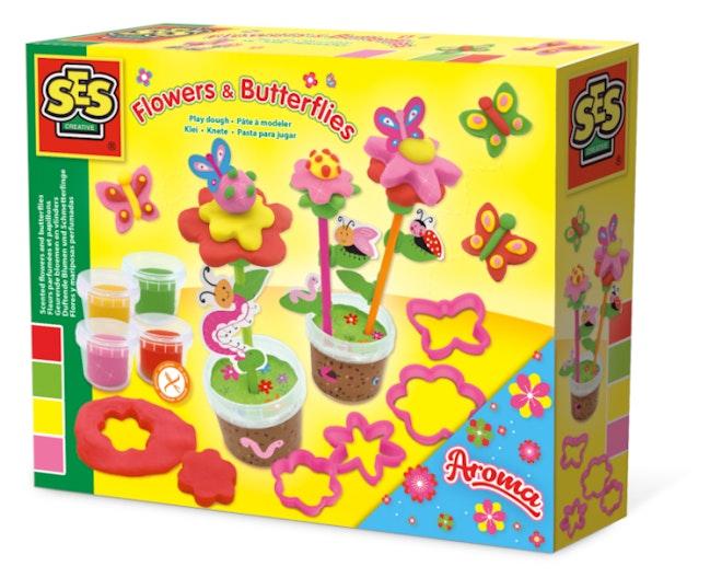 SES Klei gekleurde bloemen en vlinders