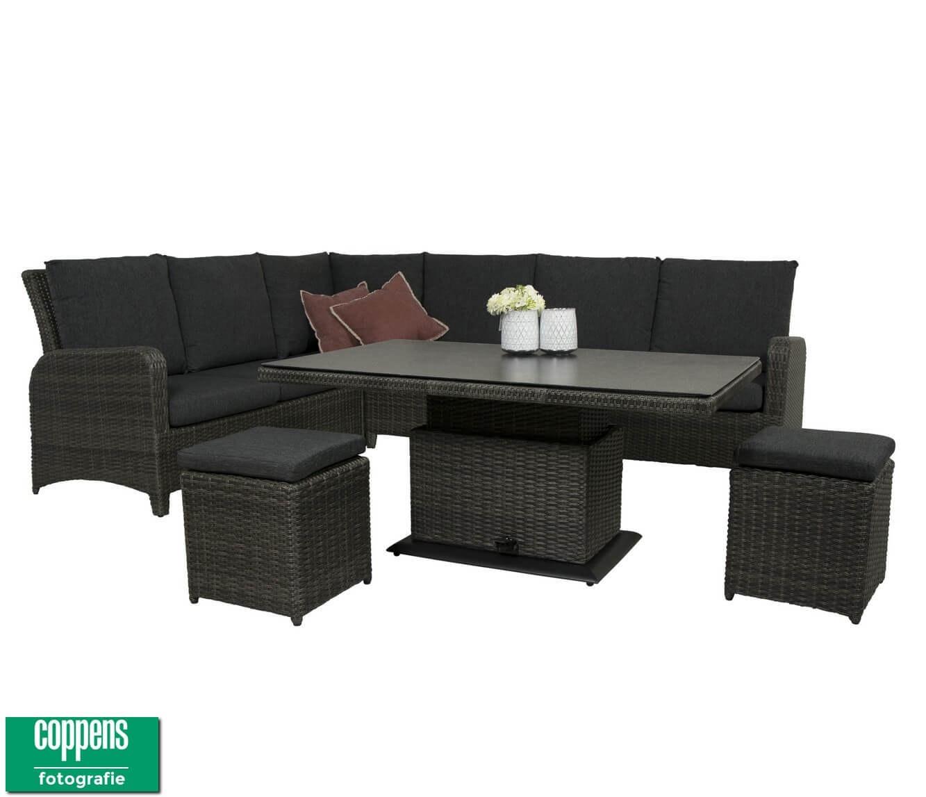 Exclusief Aruba lounge dining set met sandigo vario tafel 140cm DH antraciet