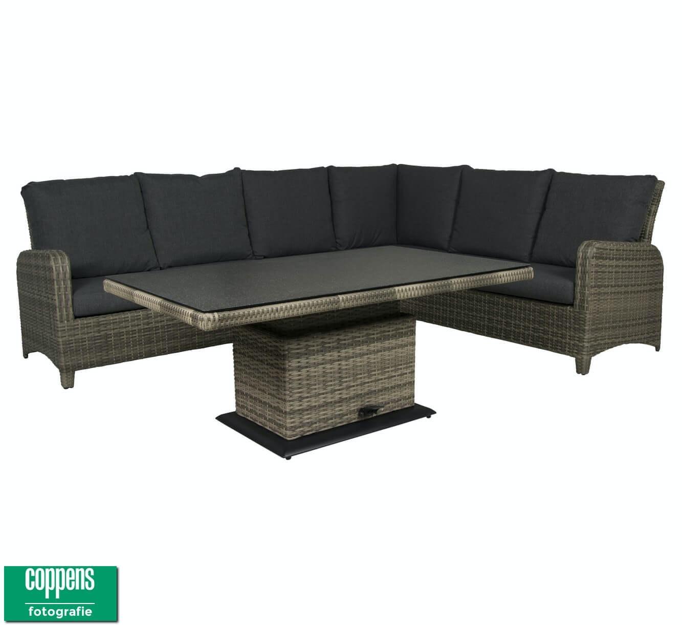 Aruba loungehoek lichtgrijs met Sandigo-Aruba vario tafel 140