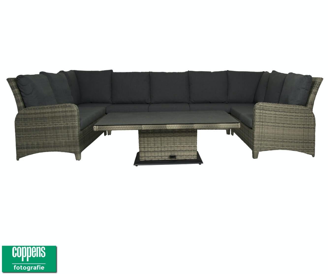 Qopps Aruba lounge dining hoekbank met sandigo in hoogte verstelbare tuintafel 140