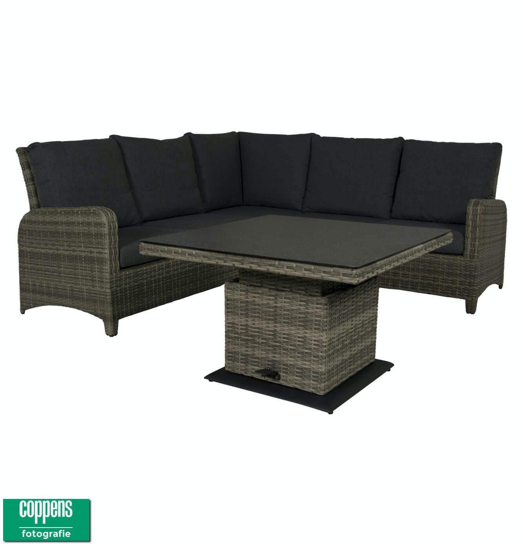 Exclusief Aruba lounge dining set met sandigo vario tafel 90cm DH lichtgrijs
