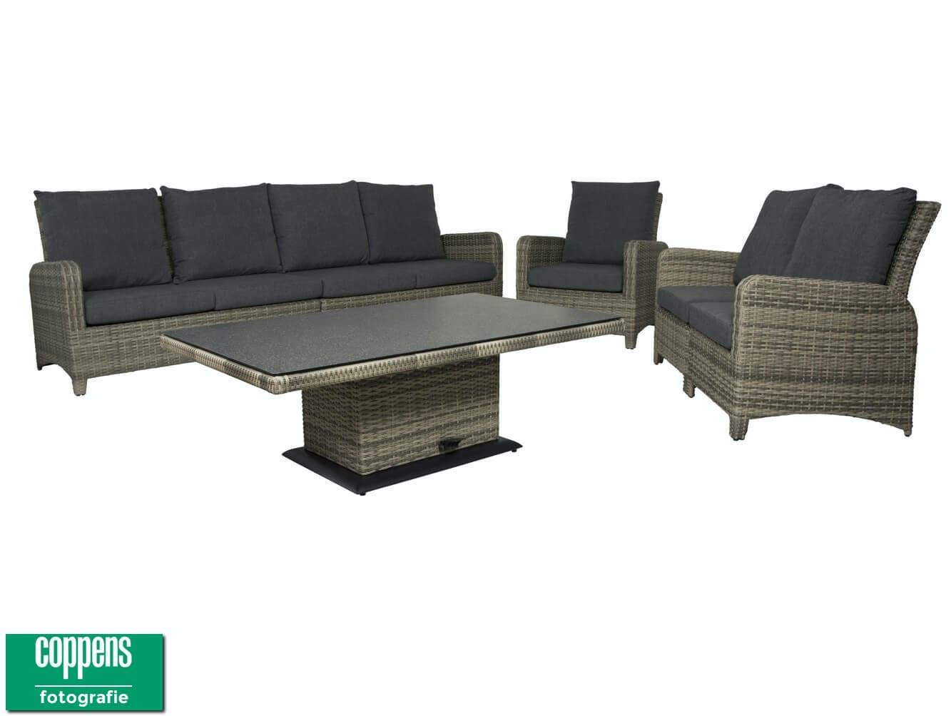 Aruba lounge dining set 4-zits + 2 zits + stoel en vario tafel 140