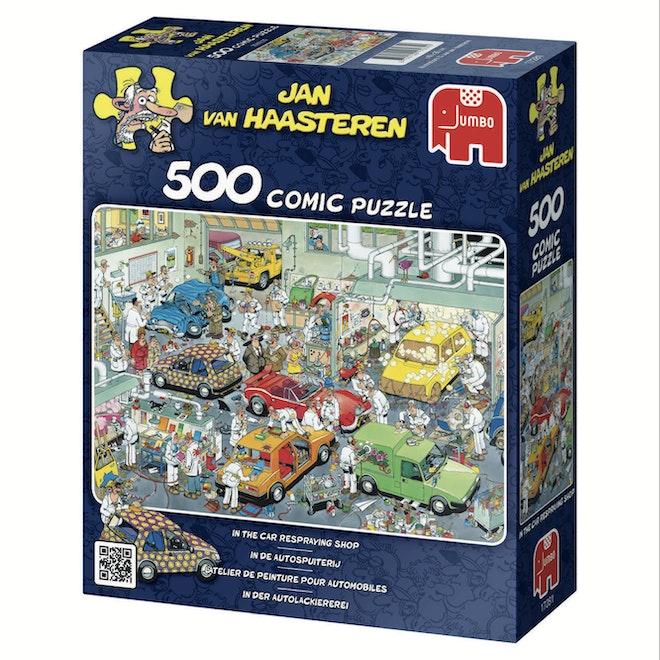 Jumbo puzzel Jan van Haasteren In de autospuiterij 500 stukjes