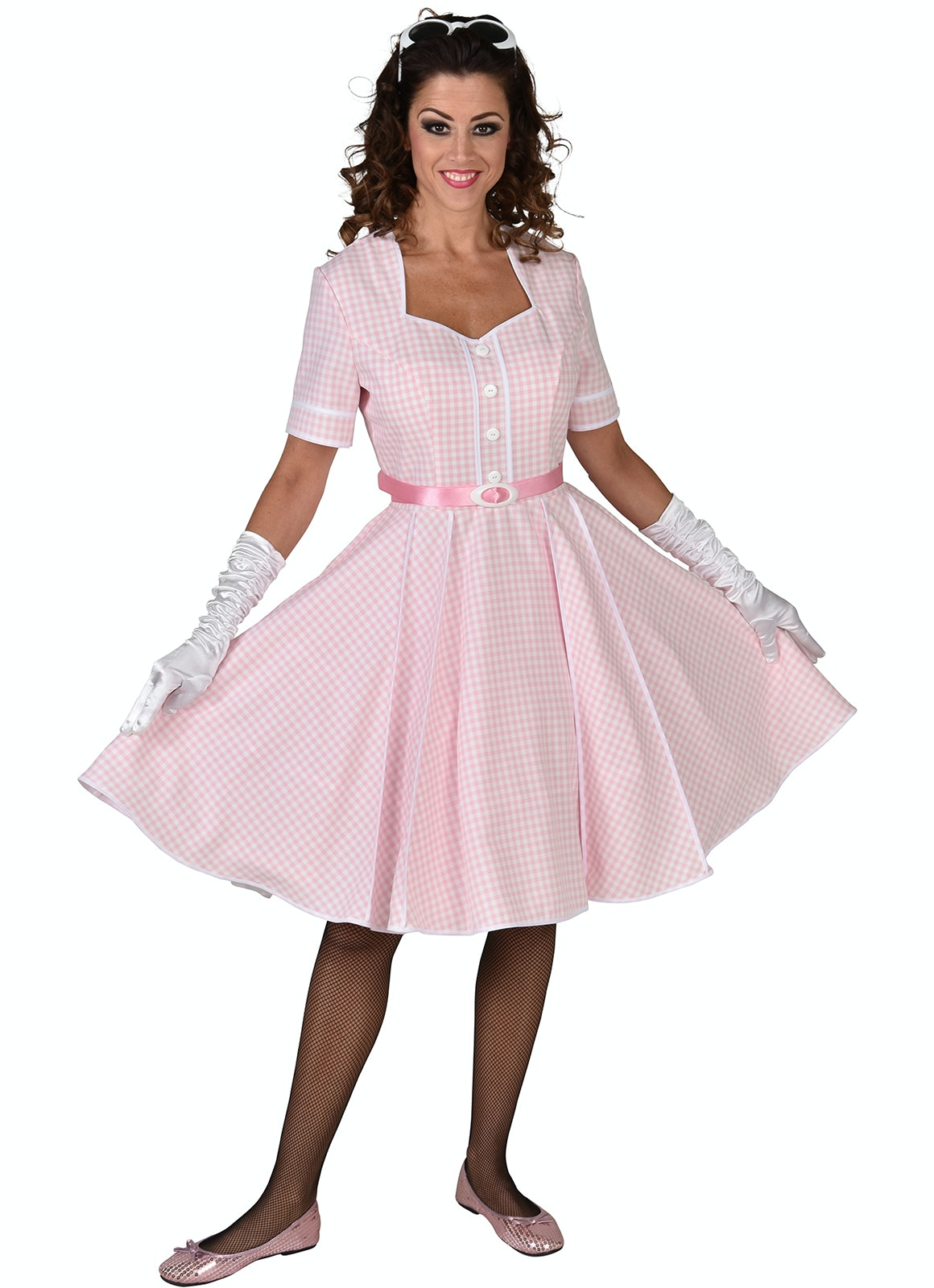50's Rock 'n roll jurk roze/wit