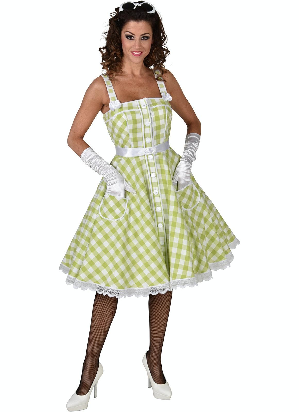 50's Rock 'n roll jurk lime/wit