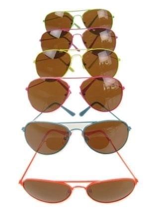 Pilotenbril met fluor kleurige frame