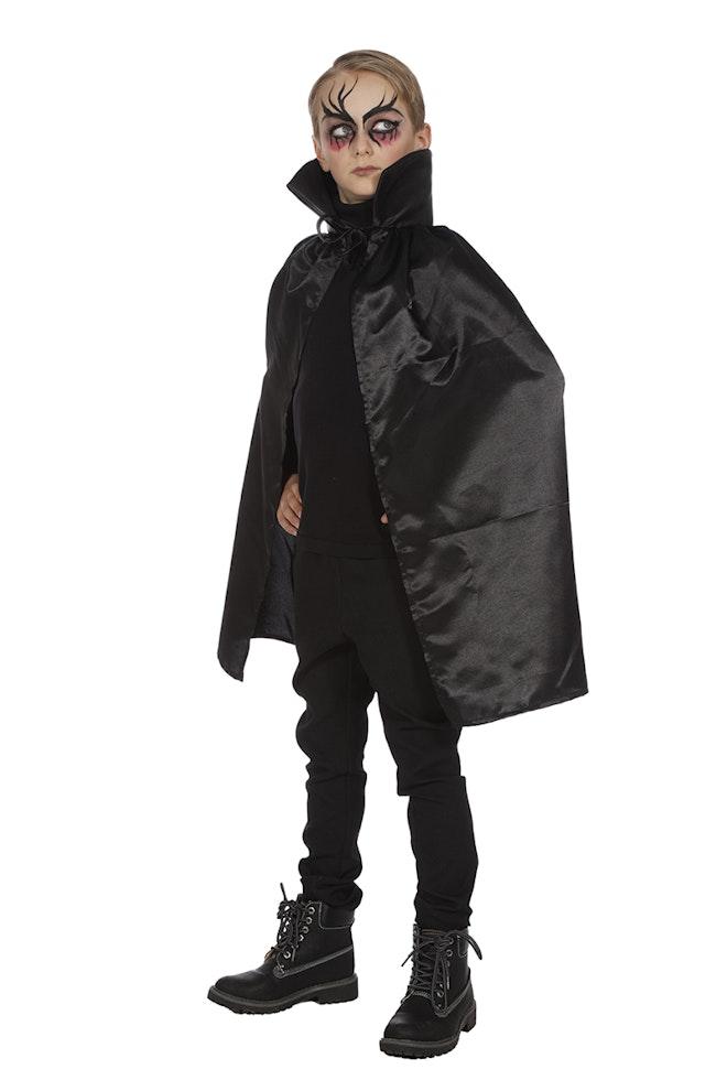 Dracula cape dubbel met kraag zwart ONE SIZE
