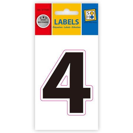 Etiketten weerbestendig cijfer 4, zwart 1 vel