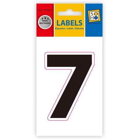 Etiketten weerbestendig cijfer 7, zwart 1 vel