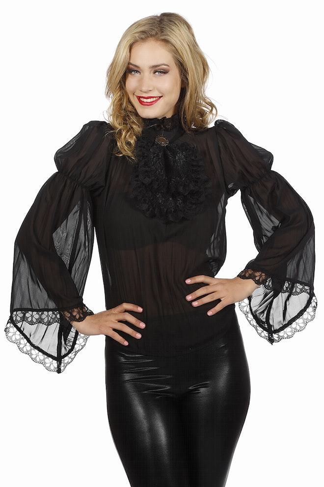 Piraten/gothic blouse, zwart