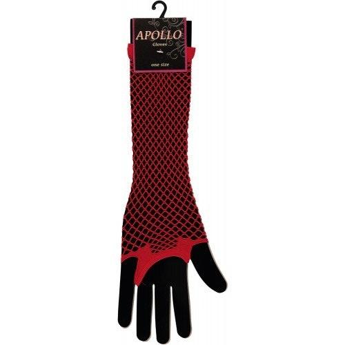 Visnet lang vingerloze handschoen red