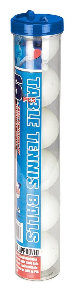 Tafeltennisballen PP in Koker  6 Stuks  Wit