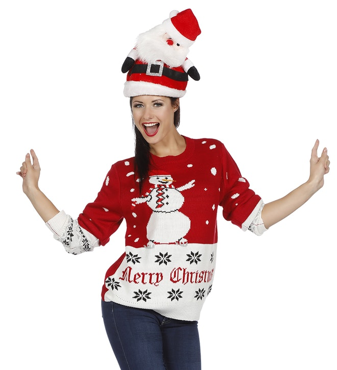 Kersttrui rood sneeuwman