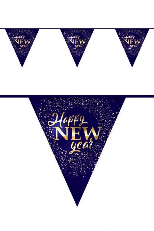 Vlaggenlijn papier Happy New Year 6 meter