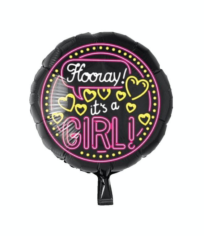 Neon Foil balloon - It's a girl