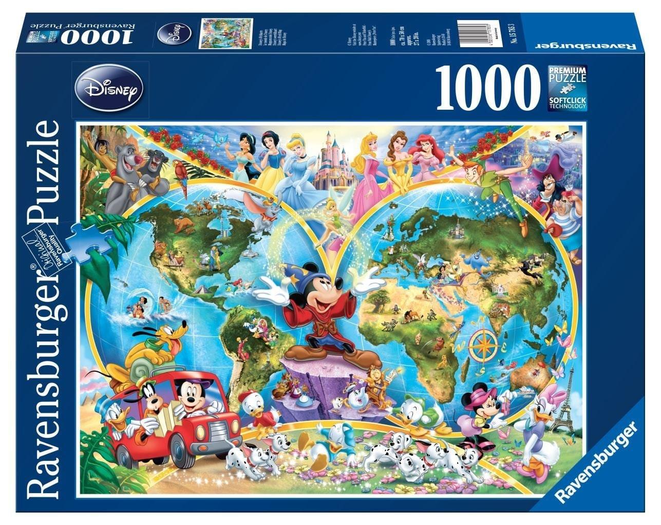 1000 Stuks Puzzel Wereldkaart Disney