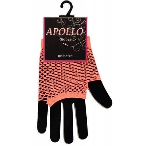 Visnet vingerloze handschoen oranje