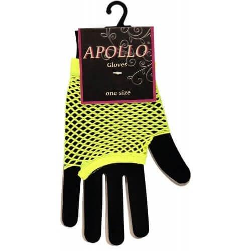 Visnet vingerloze handschoen geel op=op