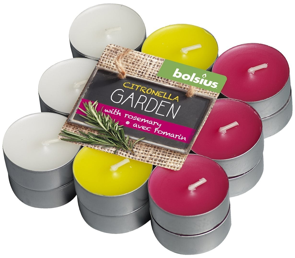 Blokverpakking 18 theelichten citronella garden 17-38 Citronella-Rozemarijn
