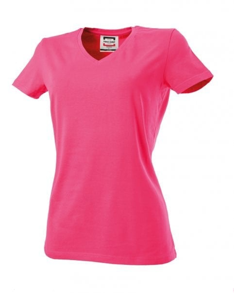 T-shirt dames V-hals slim-fit Fuchsia