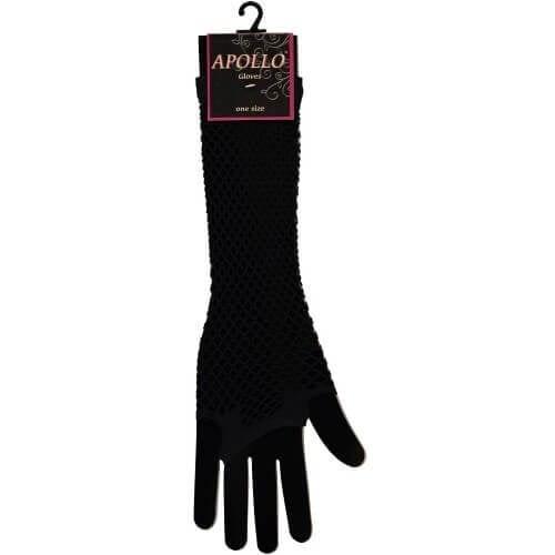 Visnet lange vingerloze handschoen zwart