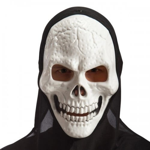 Skeleton mask in hard PVC with hood