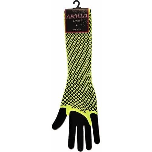 Visnet lang vingerloze handschoen geel op=op