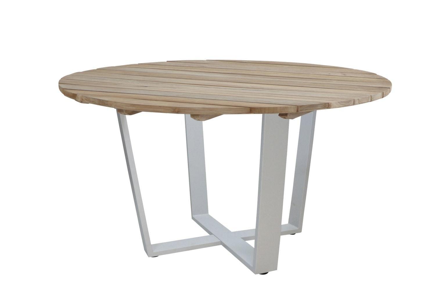 4 Seasons Outdoor Cricket tafel 130 rond teak onderstel frost grey
