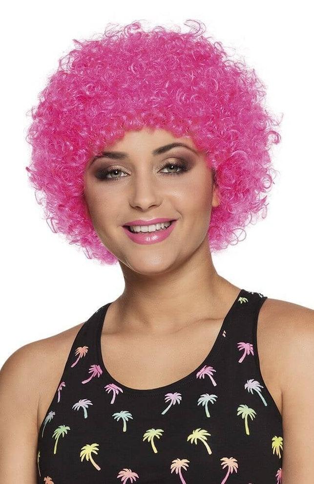 Pruik pop pink