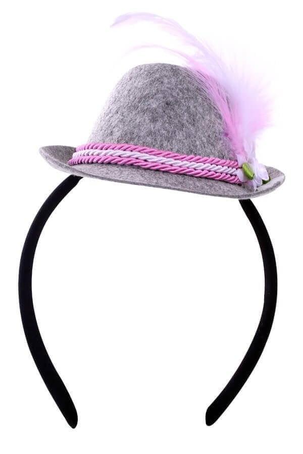 Mini Tiroler hoedje roze op hoofdband