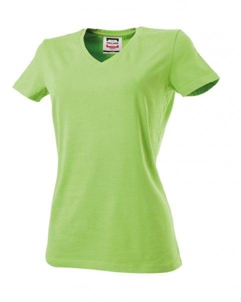 T-shirt dames V-hals slim-fit Lime