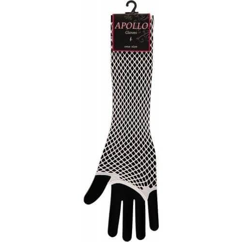 Visnet lange vingerloze handschoen wit