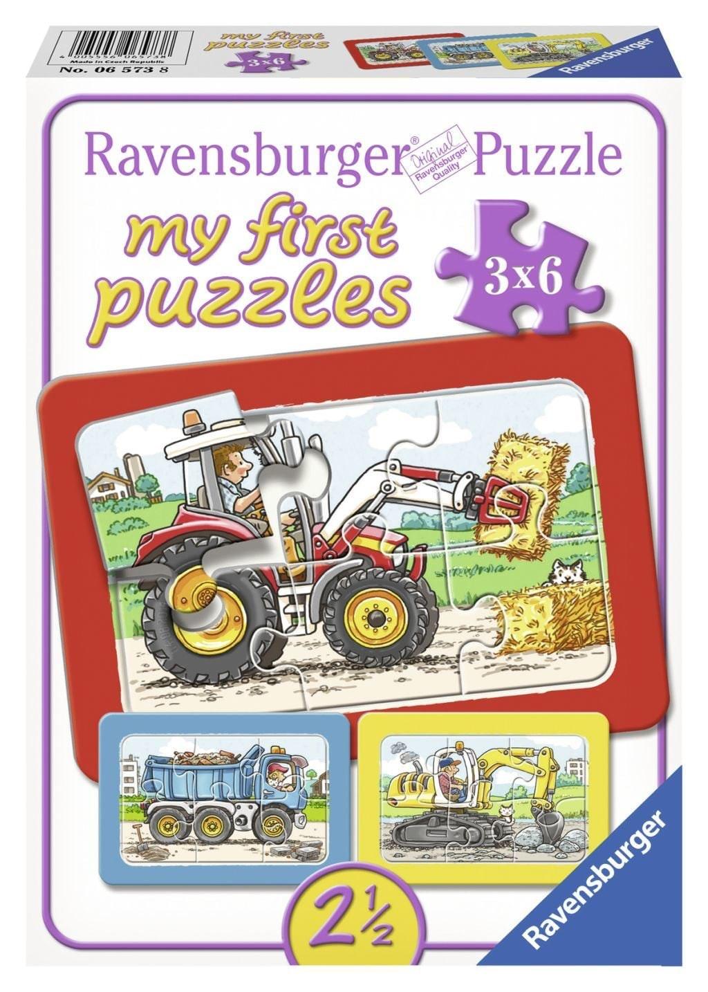 Puzzel Graafmachine En Kiepauto: 3x6 Stukjes