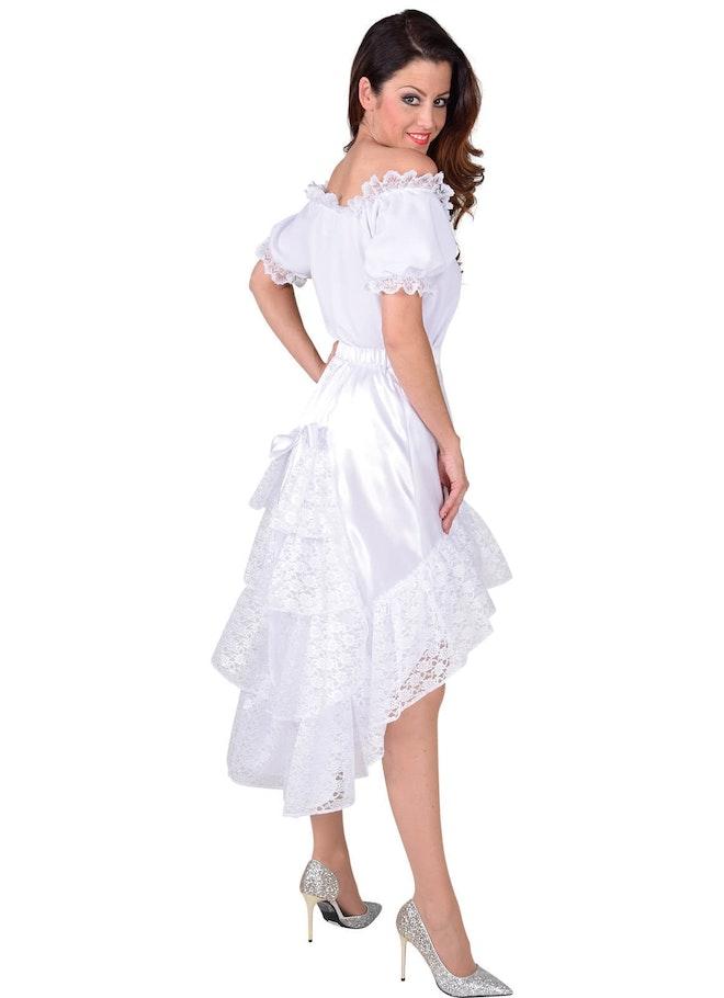 Luxe satijn rok met kant wit