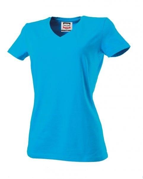 T-shirt dames V-hals slim-fit Turquoise