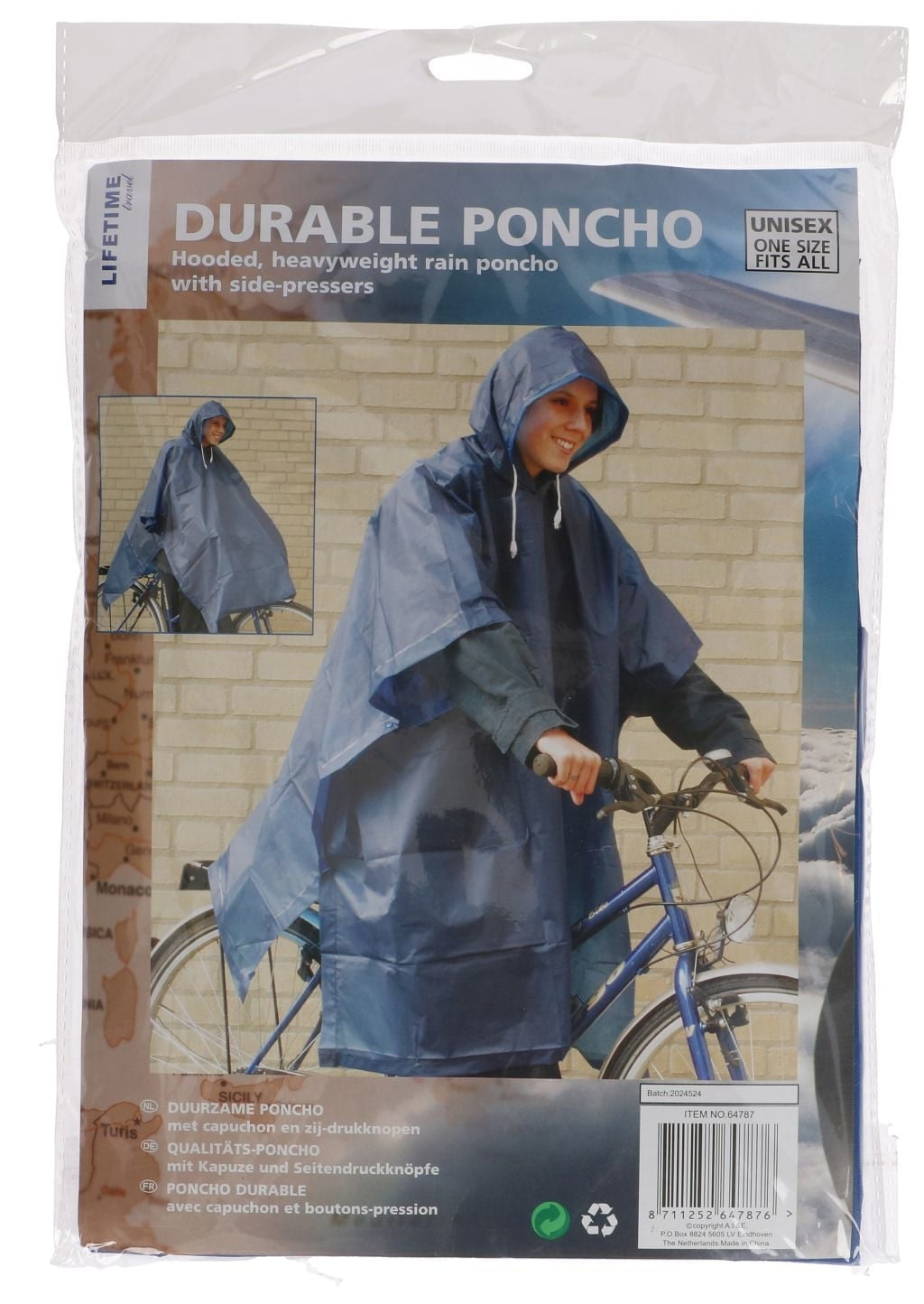 Lifetime Poncho and Capuchon Duurzaam Unisex Stuk