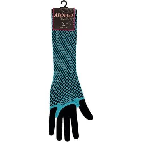 Visnet lang vingerloze handschoen turquoise