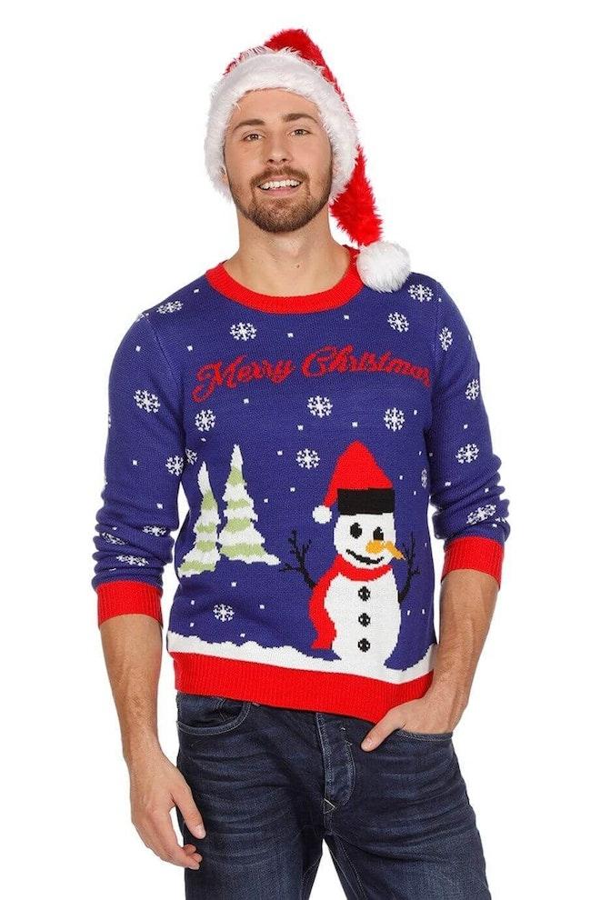 Kersttrui blauw met sneeuwman op=op