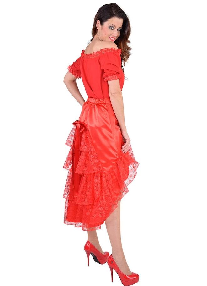 Luxe satijn rok met kant rood