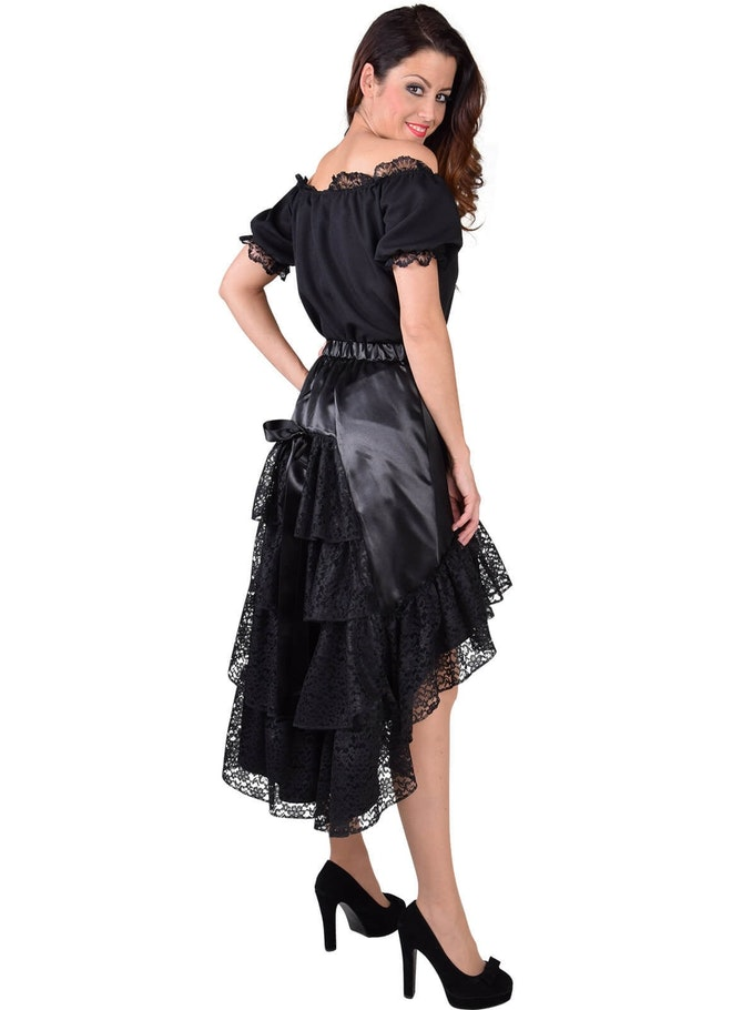 Luxe satijn rok met kant zwart