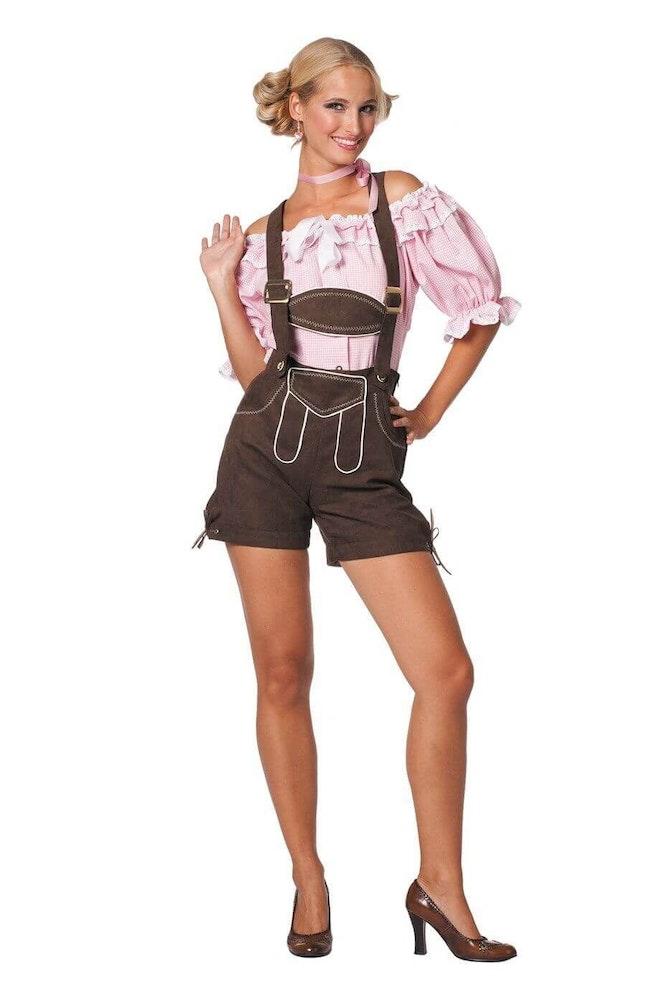Dirndl blouse wit/roze