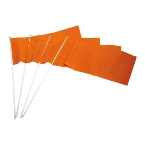 Oranje plastic vlaggetje op stok