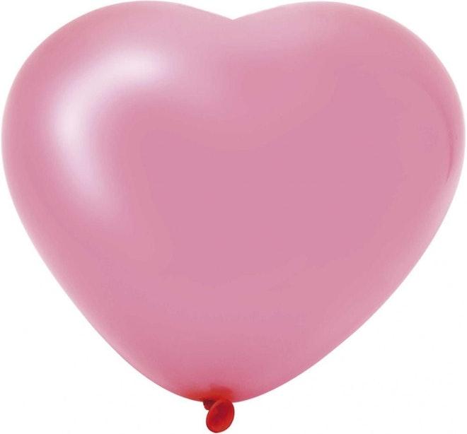 Hartballonnen groot roze 6 stuks