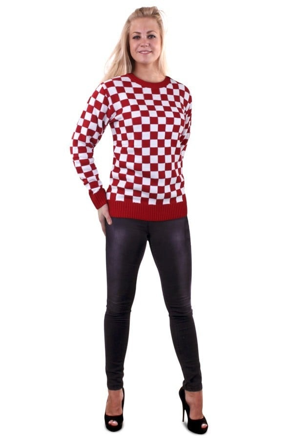 Gebreide sweater rood wit geblokt