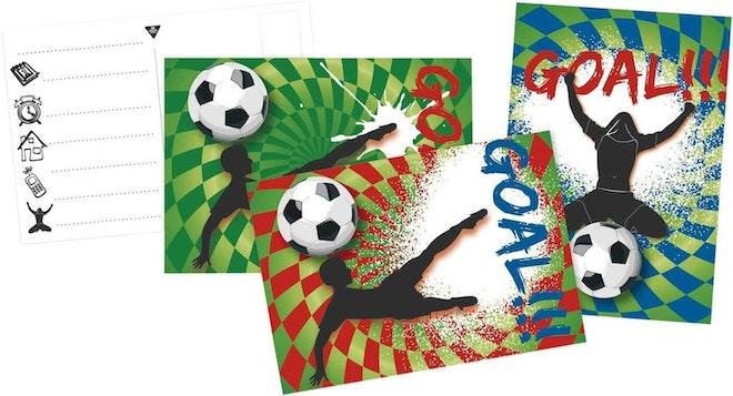 Uitnodigingskaarten 6 stuks voetbal