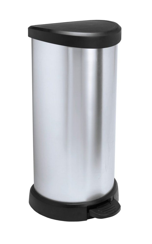 Curver Decobin pedaalemmer 40 liter zilver metallic / zwart OP=OP