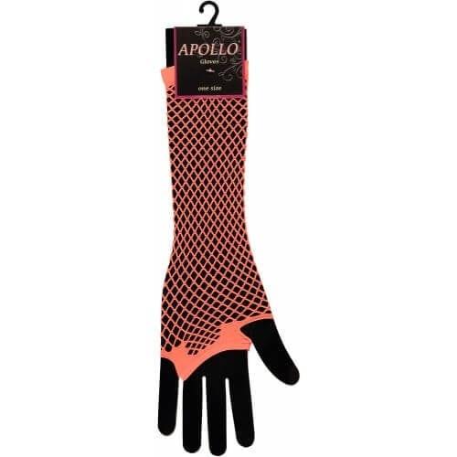 Visnet lang vingerloze handschoen oranje op=op