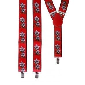 Bretel Tiroler rood met edelweissb