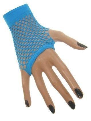 Nethandschoenen kort blauw vingerloos