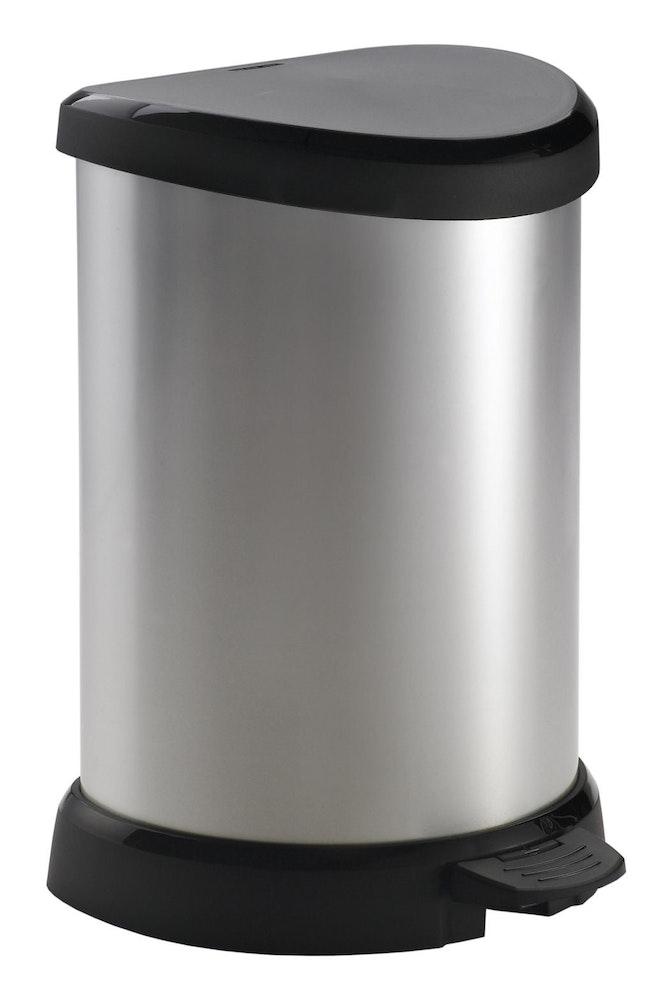 Curver Decobin pedaalemmer 20 liter zilver metallic / zwart OP=OP